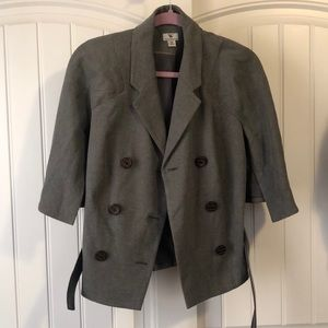 Gray Buttoned Blazer with Belt